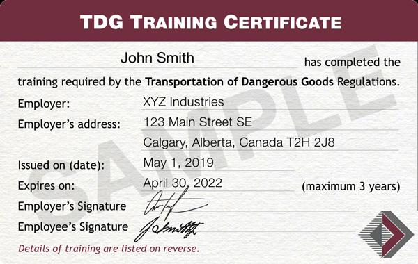 TDG-Certificate-Sample